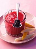 Blackberry, melon and peach jam