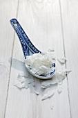 Coconut flakes on an Oriental spoon