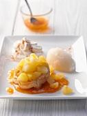 Apple cake with lemon sorbet and apricot jam