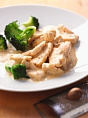 Chicken fillet in a mustard sauce with broccoli
