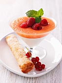 Melon and yogurt cream with a redcurrant cigar