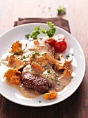 Roast beef with an autumnal chanterelle mushroom sauce