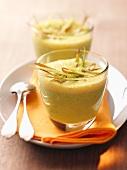 Broccoli soup in glasses
