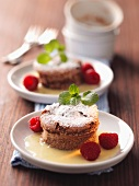 Mini chocolate cakes with vanilla sauce and raspberries