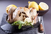 Roast chicken with sage and lemons