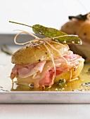 Potato and ham panino with cheese