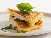 A mozzarella and basil panino