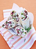 Radicchio, cucumber and tuna wraps