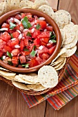 Bowl of Fresh Salsa with Tortilla Chips; From Above