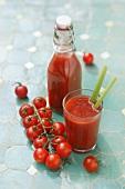 Tomato juice and vine tomatoes