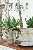 Sektgläser, Amphore mit Blumenarrangements und Kerzenleuchter