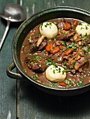 Hare ragout with potato dumplings