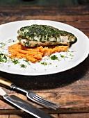 Catfish on carrot puree