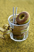 Doughnuts with green tea in a glass