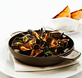 Steamed Mussels in a Cast Iron Pan