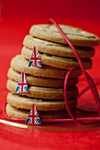 A stack of shortbread decorated with British flags
