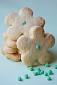 Shortbread biscuits decorated with sugar balls