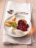 Yogurt mousse with cherries