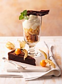 Chocolate cake with physalis and a layered dessert