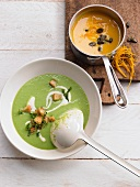 Pea and mint soup with pumpkin and orange soup