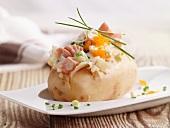 Jacket potato with salmon and caviar