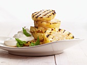 Grilled pineapple with honey, mascarpone and mint
