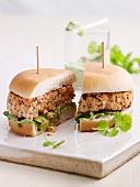 Salmon burger with wasabi mayonnaise