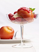 Peach Melba with raspberries