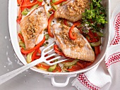 Redfish fillets with a pepper medley
