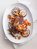 Rump steak with grilled aubergines and chickpeas