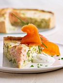 Lemon and salmon tart with leek