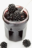 Blackberry jam in a screw top jar