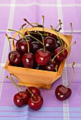 Cherries in a wooden basket