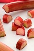 Rhubarb, partially sliced