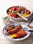 Sausage with oven-roasted vegetables