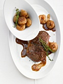 Beef steak with onions and gravy