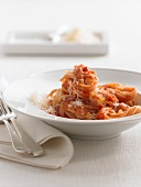 Spaghetti amatriciana with tomatoes and Pancetta