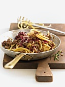 Bucatini with meat sugo and radicchio