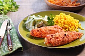 Tandoori tilapia with rice and vegetables