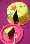 A sliced birthday cake