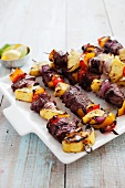 Beef and Vegetable Kabobs on a Platter