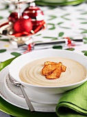 Cauliflower soup with pear chips for Christmas dinner