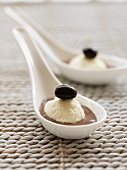 White chocolate mousse in a dark chocolate sauce