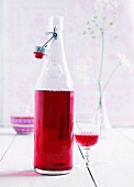 Home-made raspberry liqueur