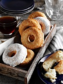 Baked Doughnuts in a Wooden Tray