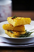 Cornbread slices with rosemary, stacked