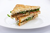 Toasted salmon and bitter cress sandwiches
