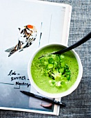 Broccoli soup with bittercress