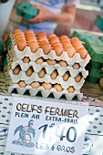Brown eggs in egg cartons on a market stall in France