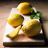 Lemons on a wooden board